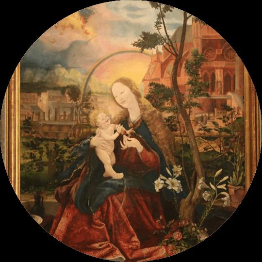 Blick auf das Bild der Stuppacher Madonna von Matthias Grünewald