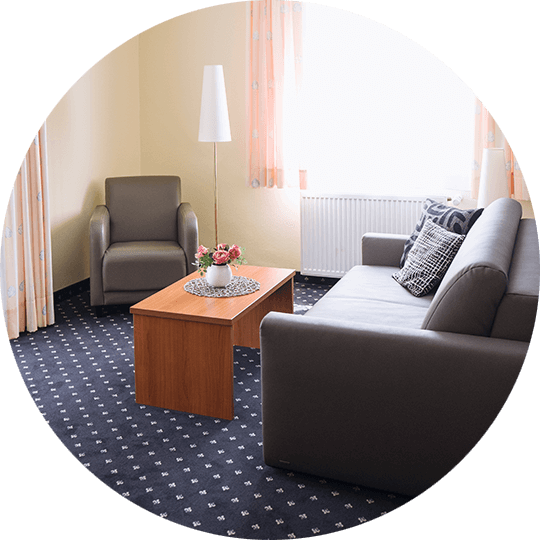 Living area of one of the 2016 modernized suites of the Hotel Alexa Bad Mergentheim