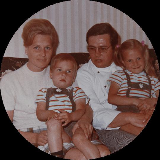 Familie Schulz auf einem historischen Bild von 1969