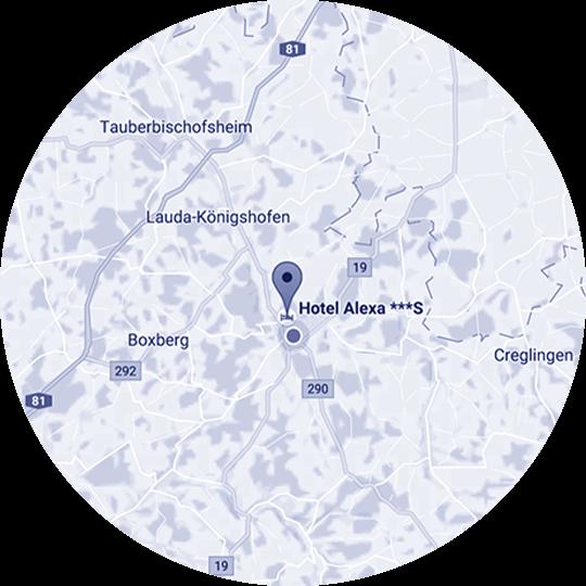Landkarte zur Anfahrt zum Hotel Alexa in Bad Mergentheim
